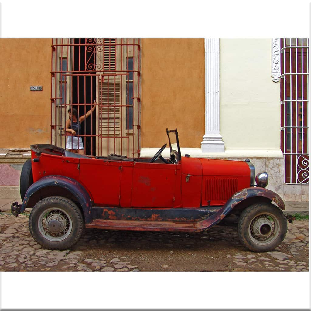 Woman and red car